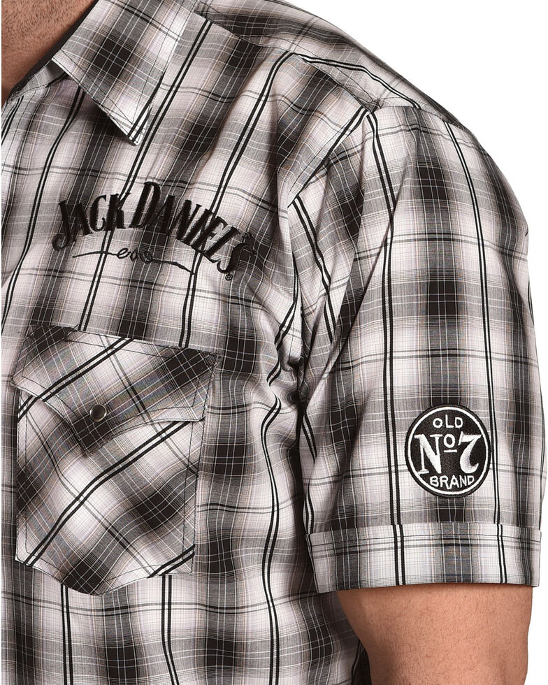 Jack Daniel's Men's Black Embroidered Logo Plaid Short Sleeve Western Shirt , Black, hi-res