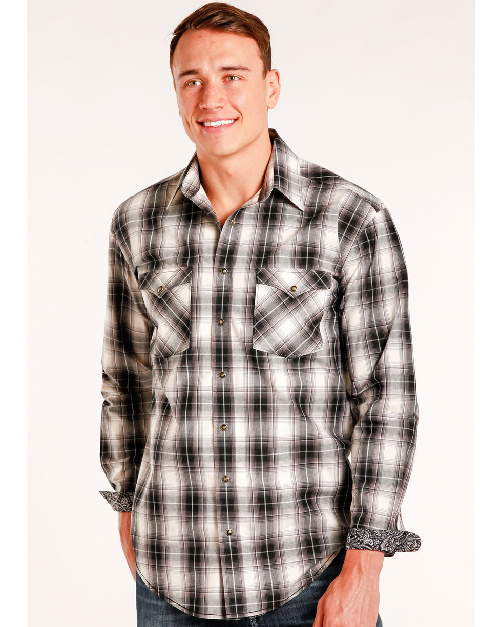 Rough Stock by Panhandle Men's Prospect Ombre Plaid Snap Shirt - Big & Tall, , hi-res