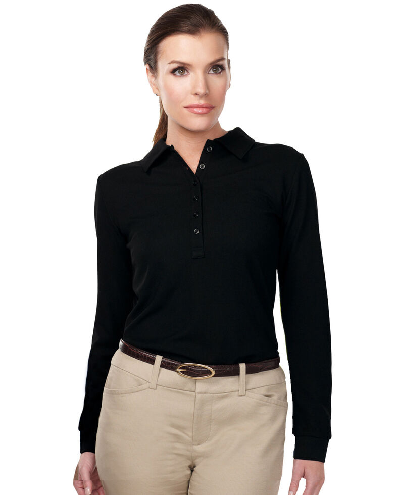 Tri-Mountain Women's Black 3X Stamina Long Sleeve Polo - Plus, Black, hi-res