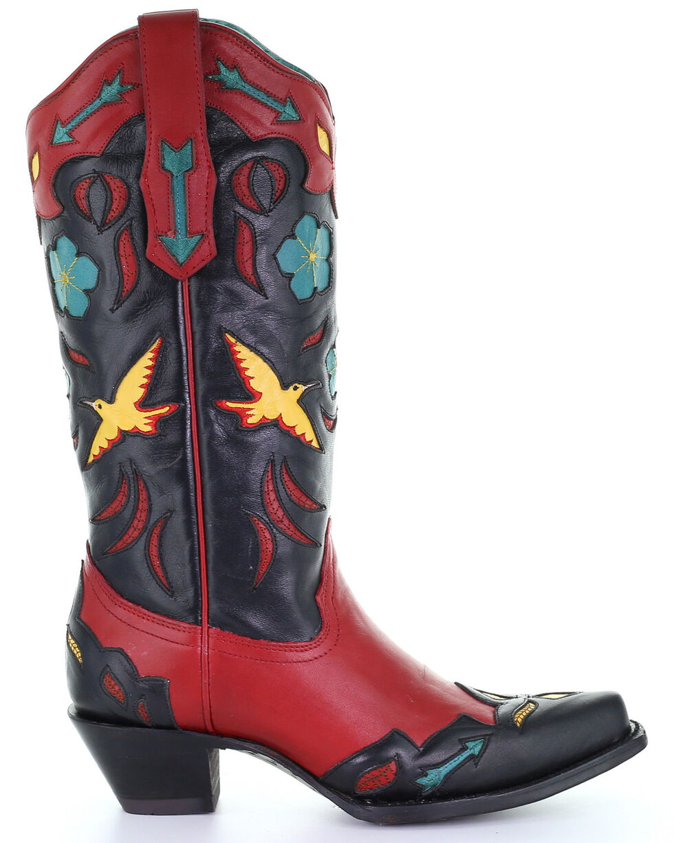 Corral Women's Red Birds & Flowers Embroidery Western Boots - Snip Toe, Red, hi-res
