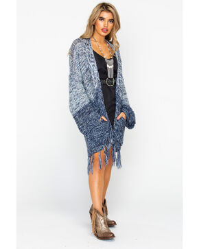 Mystree Women's Marled Fringed Hem Cardigan Sweater , Blue, hi-res