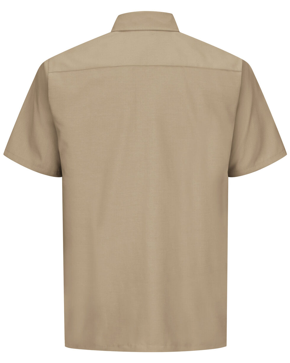 Red Kap Men's Solid Color Rip Stop Short Sleeve Work Shirt - Big & Tall, Khaki, hi-res