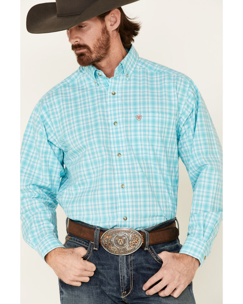 Ariat Men's Tangier Large Plaid Long Sleeve Western Shirt , Turquoise, hi-res