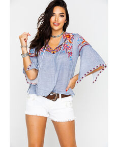 Johnny Was Women's Calia Ruffle Boho Blouse , Steel Blue, hi-res