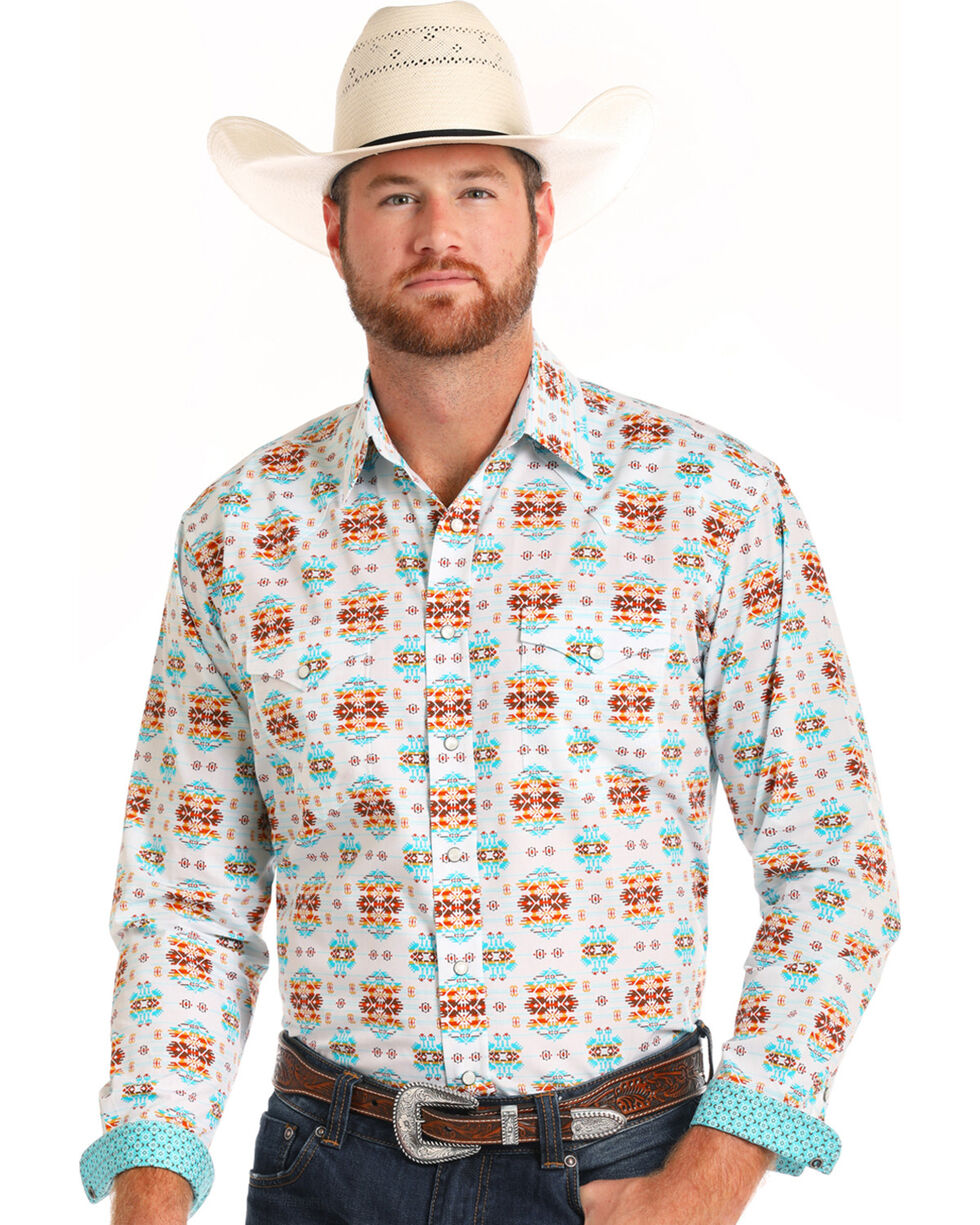 Rough Stock by Panhandle Men's Vintage Aztec Print Long Sleeve Shirt, White, hi-res