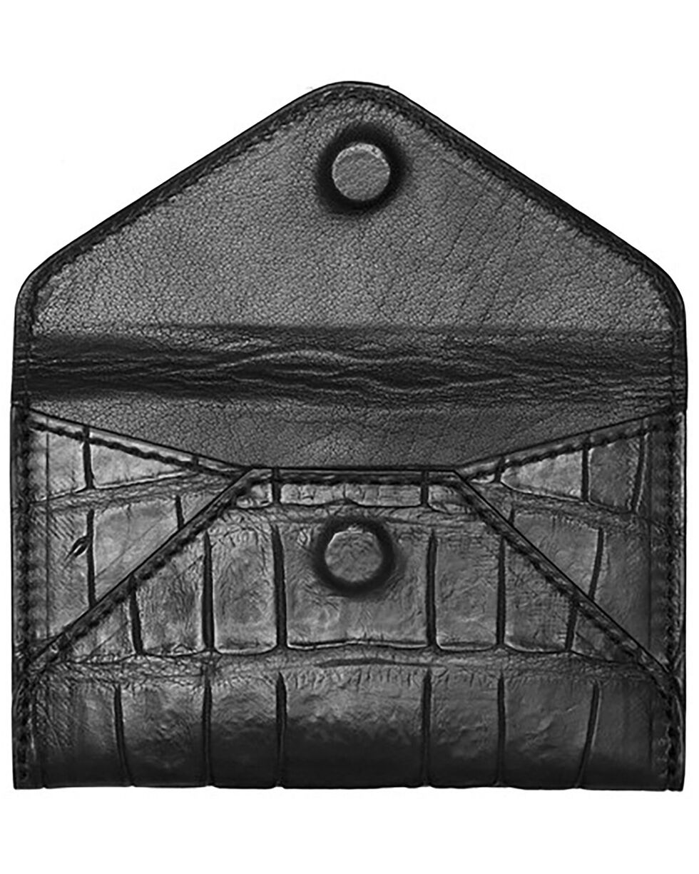 Lucchese Men's Black Crocodile Business Card Case, Black, hi-res