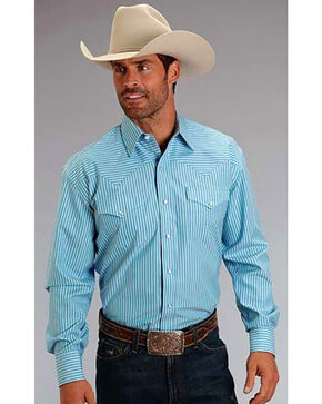 Stetson Men's Striped Long Sleeve Western Shirt, Blue, hi-res