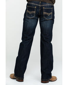 Rock & Roll Cowboy Men's Dark Vintage Pistol Stretch Straight Jeans , Blue, hi-res