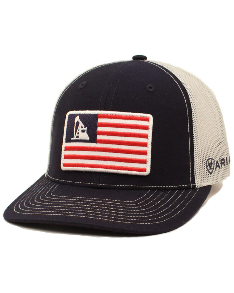 Ariat Men's Black Oil Rig Flag Patch Mesh Cap , Black, hi-res