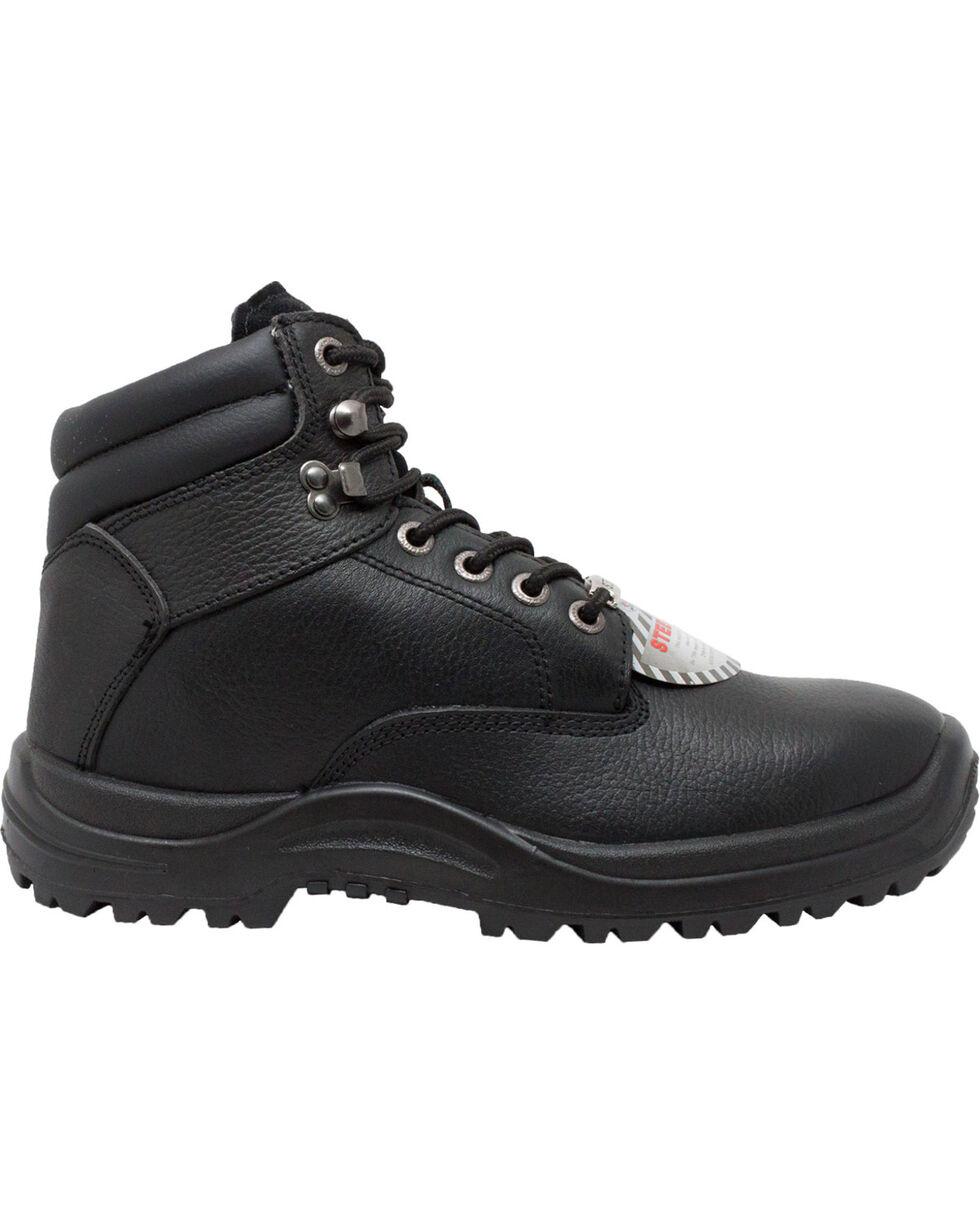 "Ad Tec Men's 6"" Black Tumbled Leather TPU Work Boots - Steel Toe, Black, hi-res"
