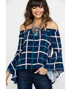 Shyanne Women's Navy Plaid Off Shoulder Bell Sleeve Top, Navy, hi-res