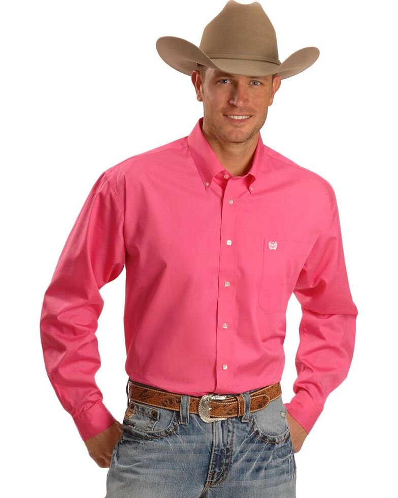 Cinch Men's Black Solid Button-Down Long Sleeve Western Shirt, Pink, hi-res