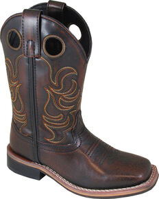 Smoky Mountain Boys' Chocolate Landry Pull On Boots - Square Toe , Chocolate, hi-res