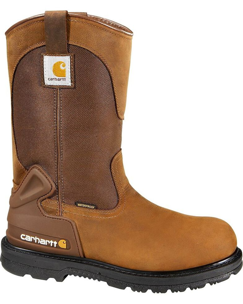 Carhartt Water Repellent Wellington Pull-On Work Boots - Steel Toe, Bison, hi-res