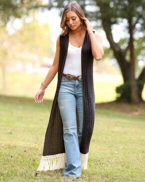 Wrangler Women's Black Cream Fringe Knit Vest Duster, Black, hi-res