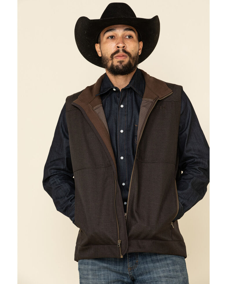 Cinch Men's Brown Solid Logo Textured Bonded Vest - Big , Brown, hi-res