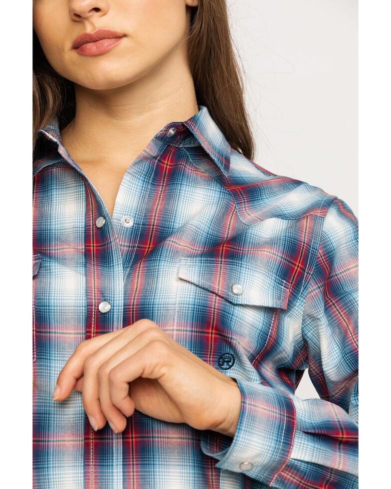 Amarillo Women's Blue Plaid Long Sleeve Western Shirt, Blue, hi-res