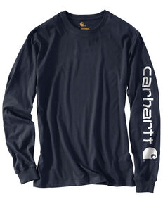 Carhartt Men's Signature Logo Long Sleeve Knit Work T-Shirt , Navy, hi-res