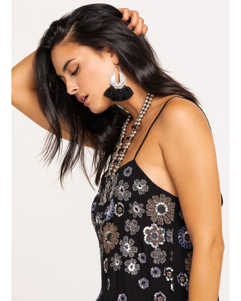 Free People Women's Azealia Embellished Slip Dress, Black, hi-res