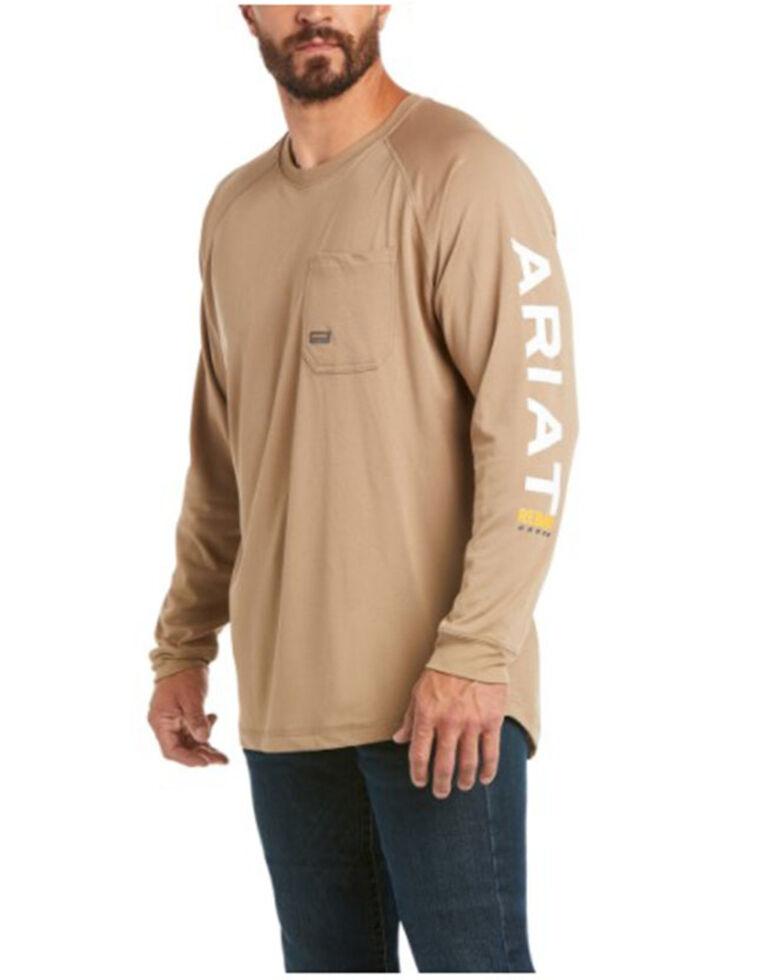 Ariat Men's Khaki Rebar Heat Fighter Long Sleeve Work Pocket T-Shirt , Beige/khaki, hi-res