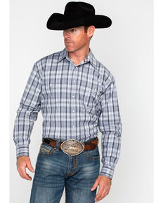 Panhandle Men's Rough Stock Stratton Vintage Plaid Long Sleeve Western Shirt , Grey, hi-res
