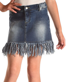 Idol Mind Girls' Fringed Hem Denim Skirt , Indigo, hi-res