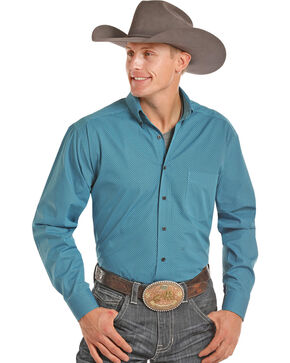 Tuf Cooper Performance Men's Turquoise Competition Shirt , Turquoise, hi-res