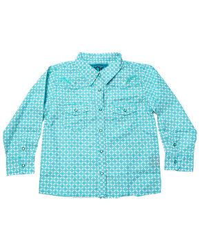 Cowgirl Hardware Toddler Girls' Snowflake Diamond Print Long Sleeve Shirt, Turquoise, hi-res