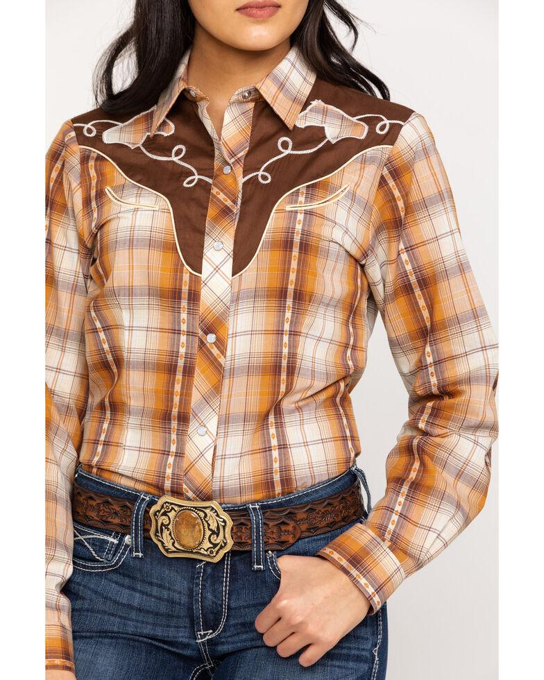 Roper Women's Horse Yoke Plaid Long Sleeve Western Shirt, Orange, hi-res