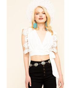 Vintage Havana Women's White Lace Ruffle Wrap Crop Top , White, hi-res