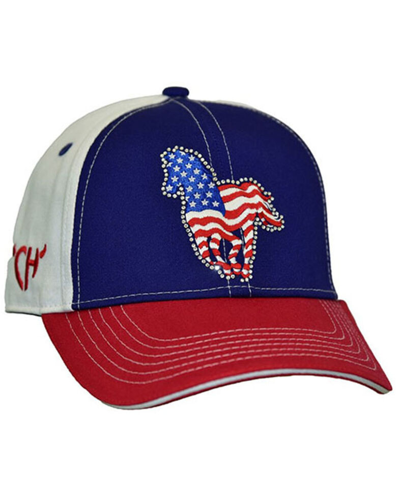 Cowgirl Hardware Women's American Flag Pony Embellished Ball Cap, Red/white/blue, hi-res