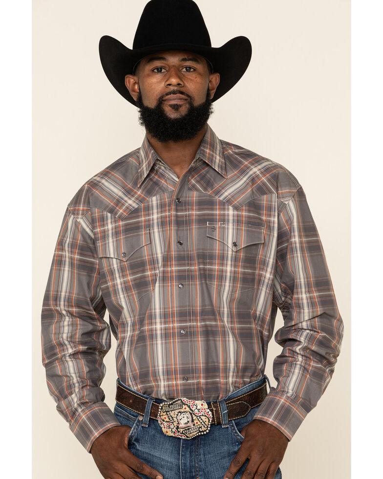 Stetson Men's Grey Adobe Large Plaid Long Sleeve Western Shirt , Grey, hi-res