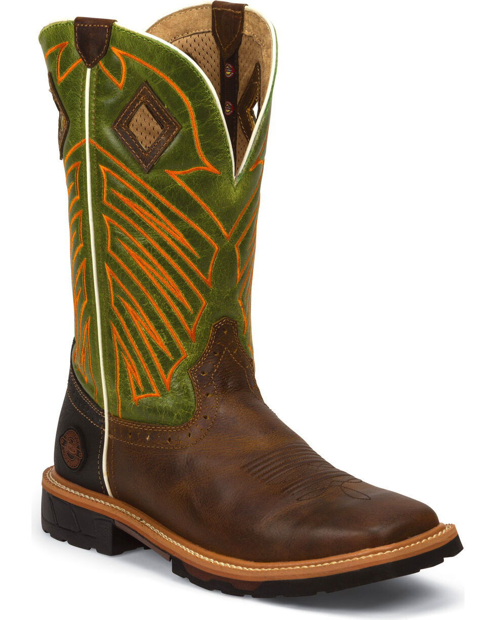 Justin Men's Rugged Square Toe Hybred Work Boots, Tan, hi-res