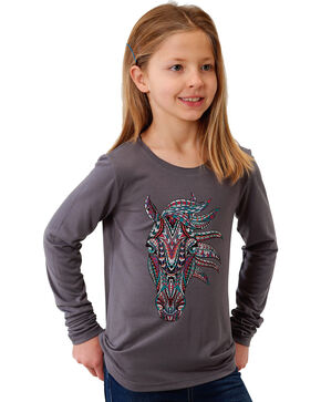 Roper Girls' Grey Horse Head Graphic Tee , Grey, hi-res