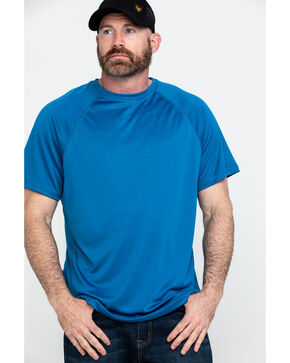 Hawx Men's Blue Solid Performance Work T-Shirt , Blue, hi-res