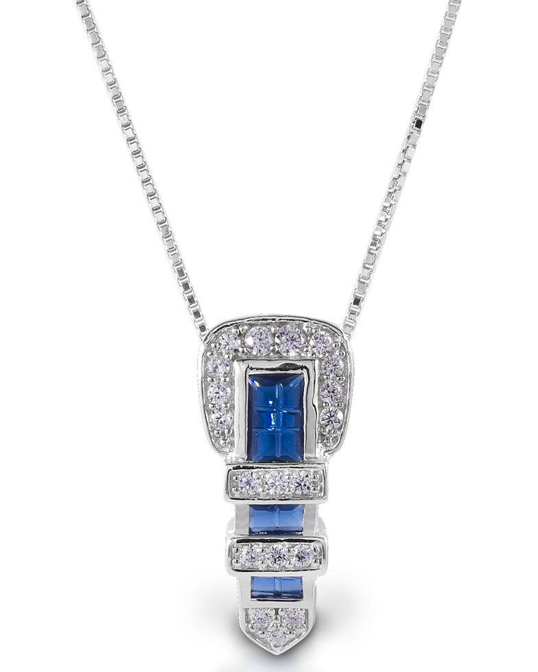 Kelly Herd Women's Blue Ranger Style Buckle Pendant Necklace, Silver, hi-res