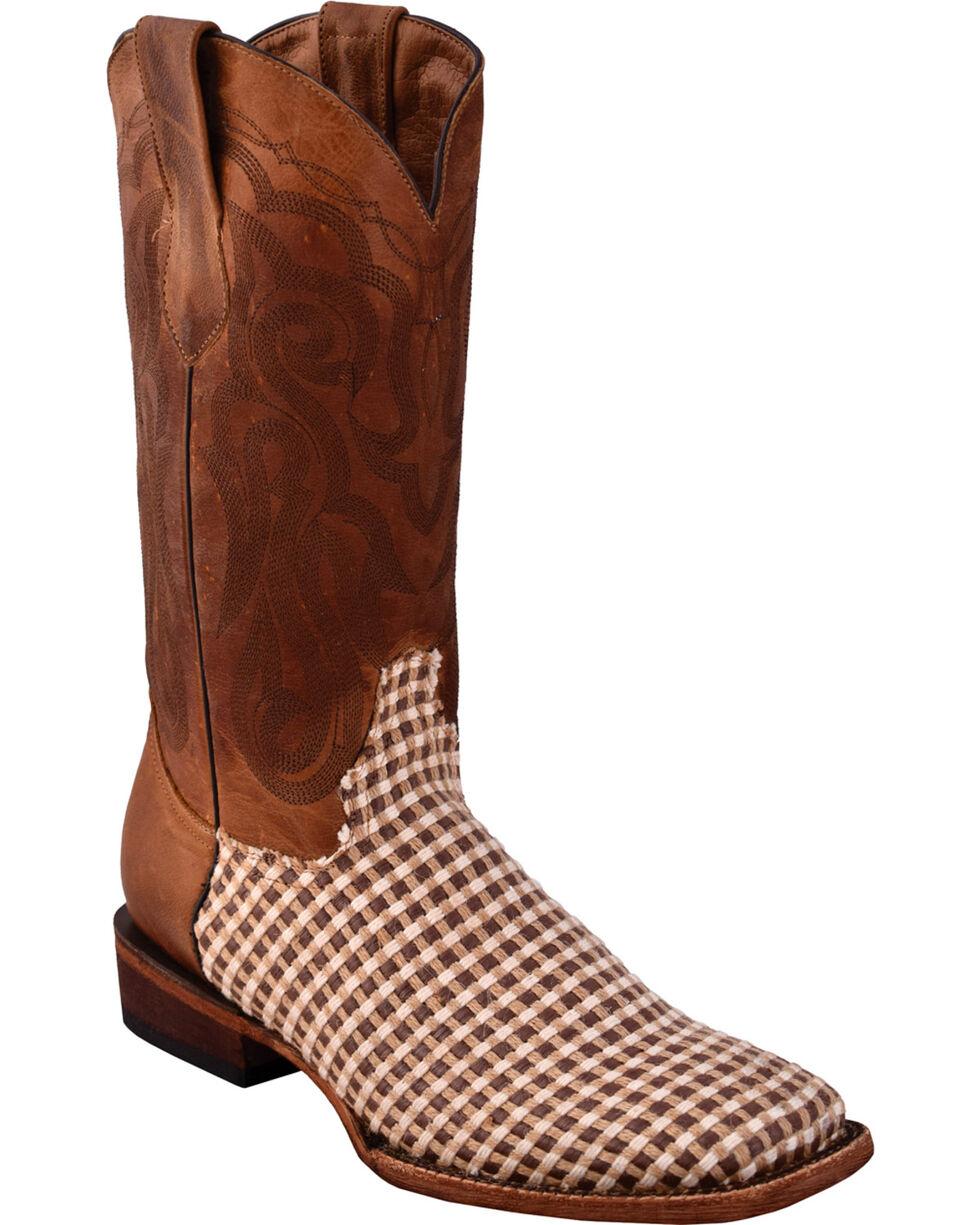 Ferrini Men's Basket Weave Brown Cowboy Boots - Square Toe, , hi-res