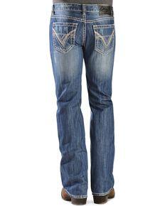 """Rock & Roll Cowboy Pistol Straight Leg""""V"""" Pocket Jeans, Med Wash, hi-res"""