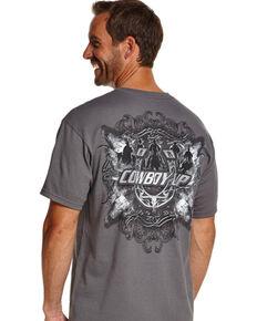 Cowboy Up Men's Graphic Print Tee, Grey, hi-res