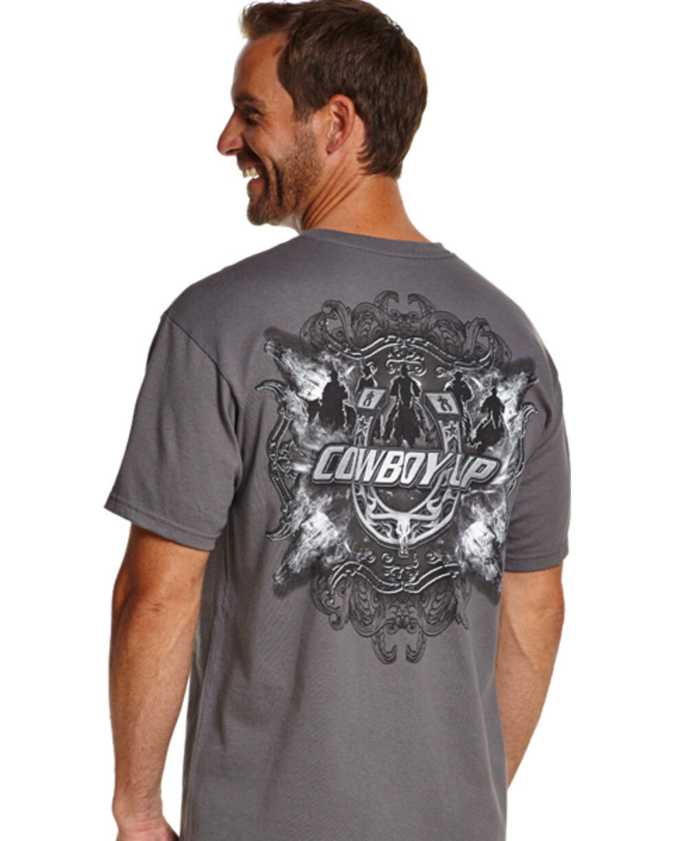 Cowboy Up Men's Graphic Print Tee, Grey, hi-res