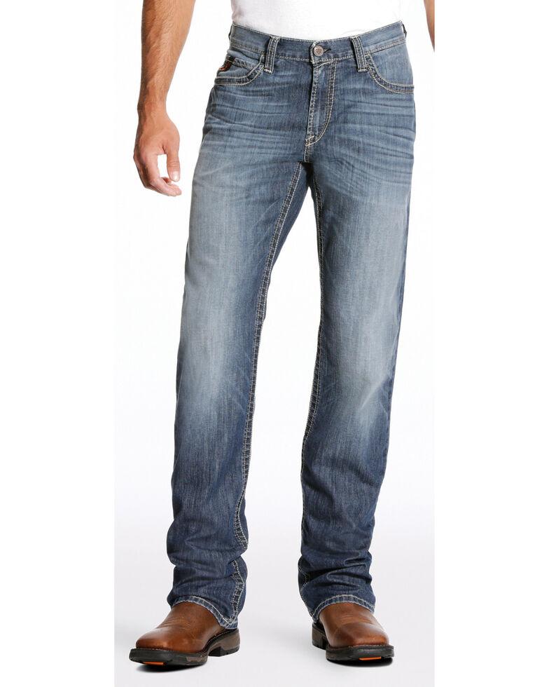 Ariat Men's FR M4 Inherent Boundary Low Rise Boot Cut Jeans - Big, Dark Blue, hi-res