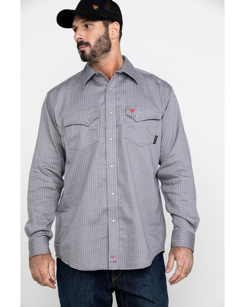 Ariat Men's FR Petro Snap Long Sleeve Work Shirt - Big , Silver, hi-res