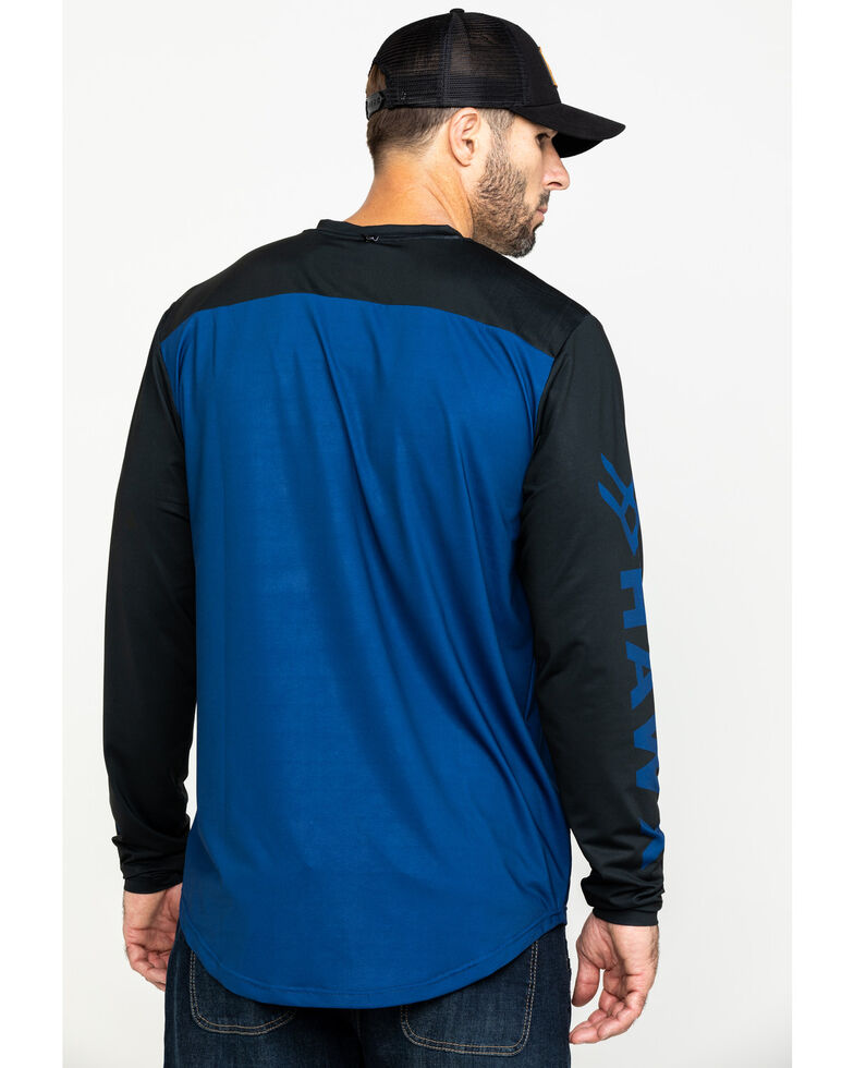 Hawx Men's Blue Logo Moto Performance Long Sleeve Work T-Shirt - Tall , Blue, hi-res