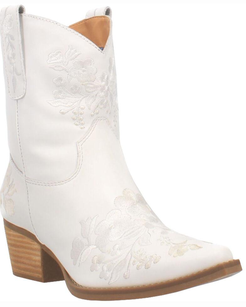 Dingo Women's Take A Bow Western Booties - Snip Toe, White, hi-res