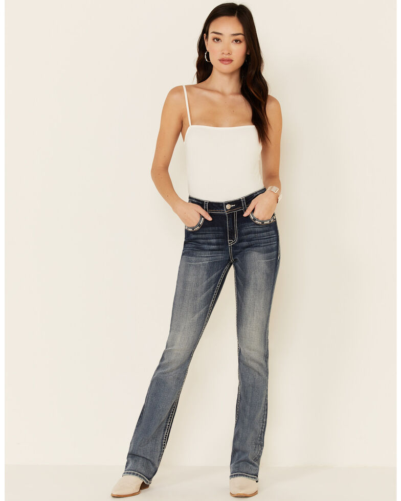 Grace in LA Women's Faded Bootcut Jeans, Blue, hi-res
