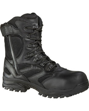 "Thorogood Men's Deuce 8"" Waterproof Side Zip Work Boots - Composite Toe, Black, hi-res"