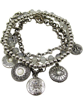 Silver Jeans Women's Genuine White Mother of Pearl Coin Multi Row Bracelet, Silver, hi-res
