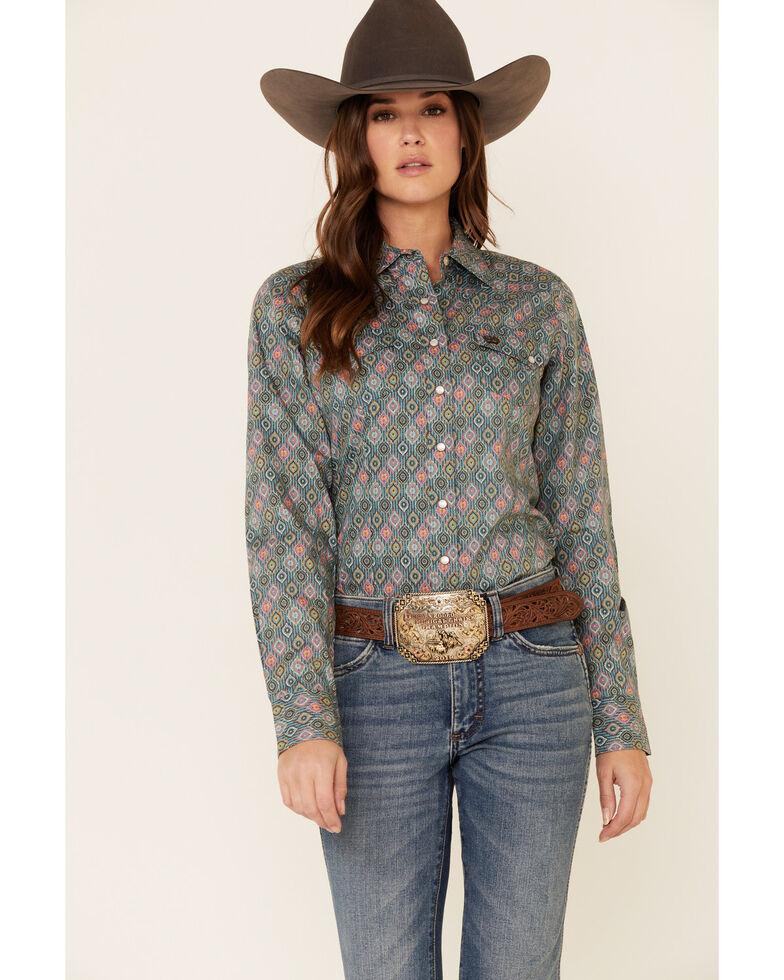 Cinch Women's Blue Tile Print Snap Front Long Sleeve Western Shirt, Blue, hi-res