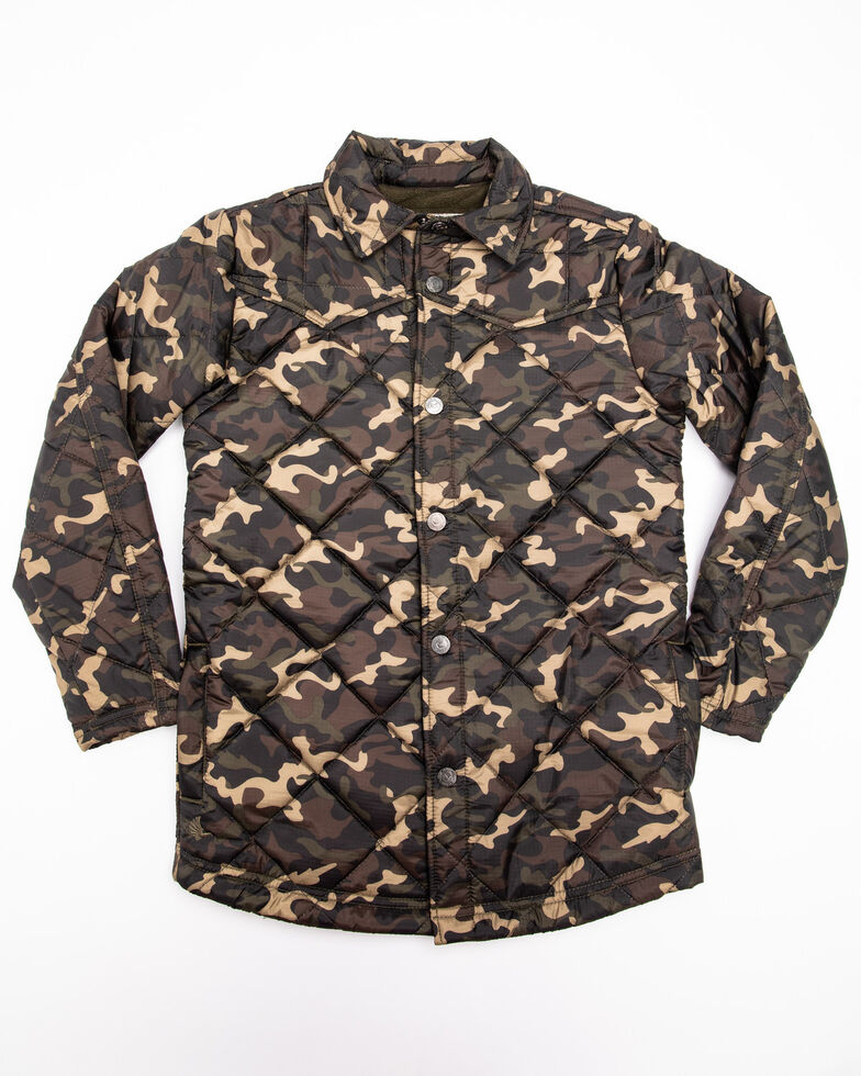 Cody James Boys' Platoon Quilted Camo Print Shirt Jacket, Camouflage, hi-res