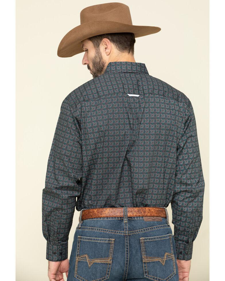 Tuf Cooper By Panhandle Men's Black Small Geo Print Long Sleeve Western Shirt , Charcoal, hi-res